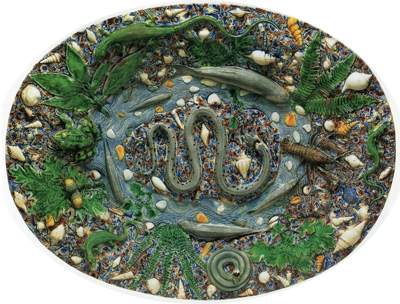 Workshop of Bernard Palissy (French, 1510-90). Platter, ca. 1565-75. Lead-glazed earthenware, w. 20.5 in. Metropolitan Museum of Art, NYC