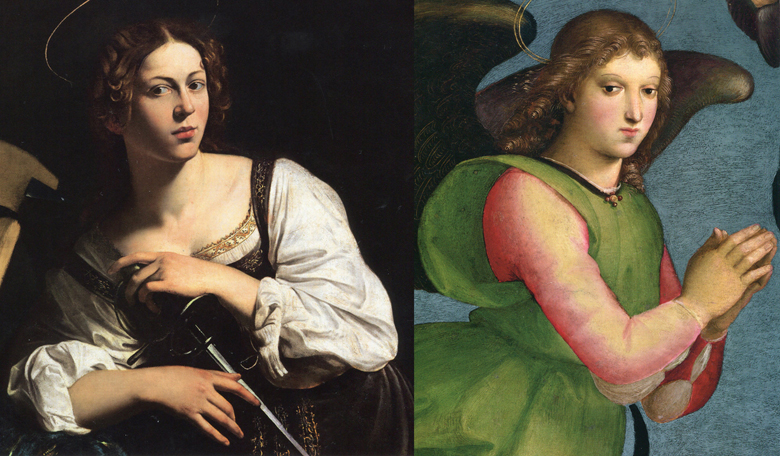 Left: Caravaggio. St. Catherine of Alexandria. ca. 1597. Right: Raphael. Angel from the Colonna Altarpiece. ca. 1504