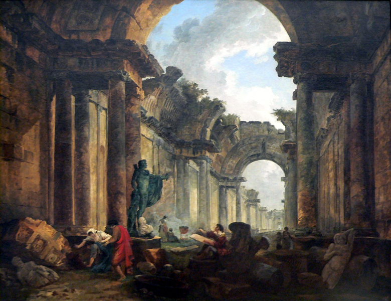 Hubert Robert [birth name Robert des Ruines] (1733–1808) Imaginary View of the Grande Galerie in the Louvre in Ruins. Oil on Canvas. Musée du Louvre.