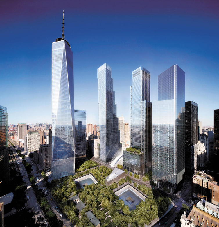 A rendering of the new World Trade Center buildings in Lower Manhattan, with the reflecting pools of the National September 11 Memorial in the foreground. Three of the buildings have been completed, including One World Trade Center (far left). Credit: DBOX/Little, Brown and Co.